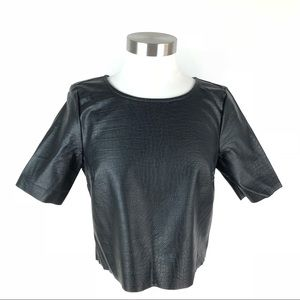 H&M Crop Top Faux Vegan Leather Crocodile Shirt S